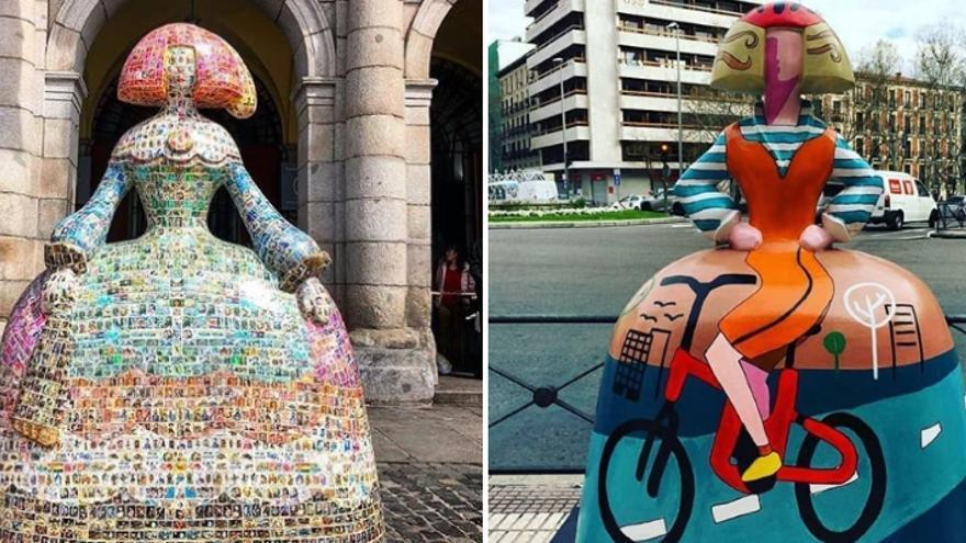 Dos de las esculturas de la Madrid Meninas Gallery
