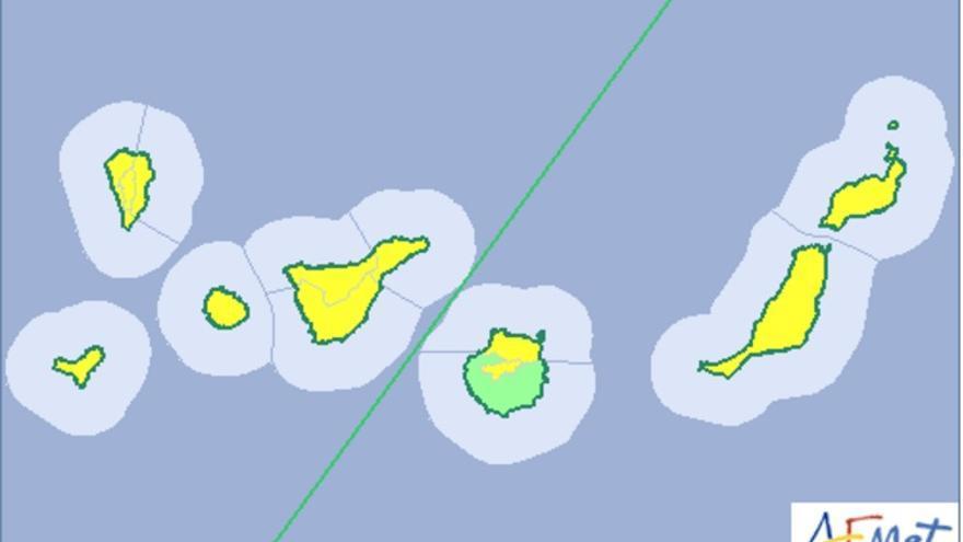 Mapa de la Aemet del aviso de riesgo por lluvia y viento para este fin de semana.
