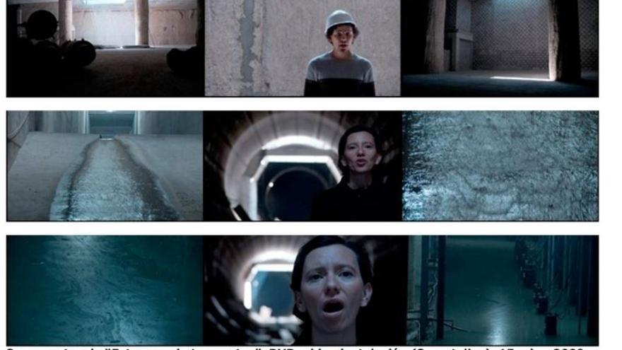 Tres escenas de 'Estanque de tormentas', una videocreación del británico Tom Skipp.