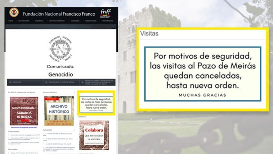 Advertencia sobre el cierre del Pazo hecha pública por la Fundación Franco