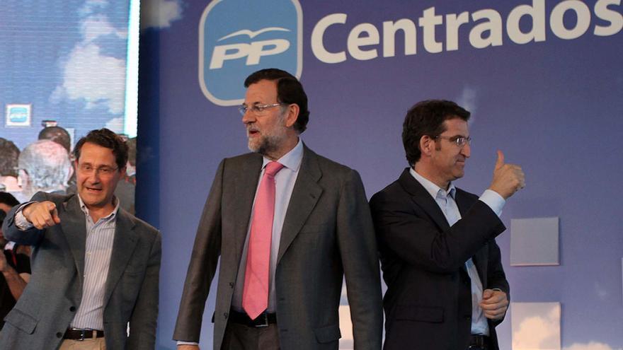 Mitin de las municipales de 2011 en Santiago con Conde Roa, Rajoy y Feijóo