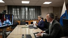 El presidente del Gobierno de Canarias, Ángel Víctor Torres, y el vicepresidente y consejero de Hacienda, Román Rodríguez, se reunieron este miércoles por videoconferencia con la ministra de Hacienda, María Jesús Montero.
