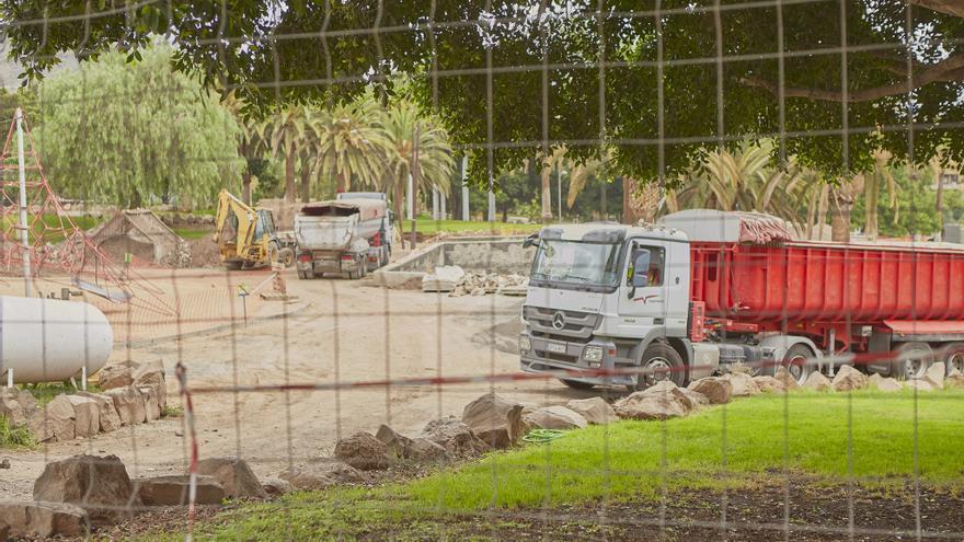 Obras en el Parque de La Granja en la capital tinerfeña.