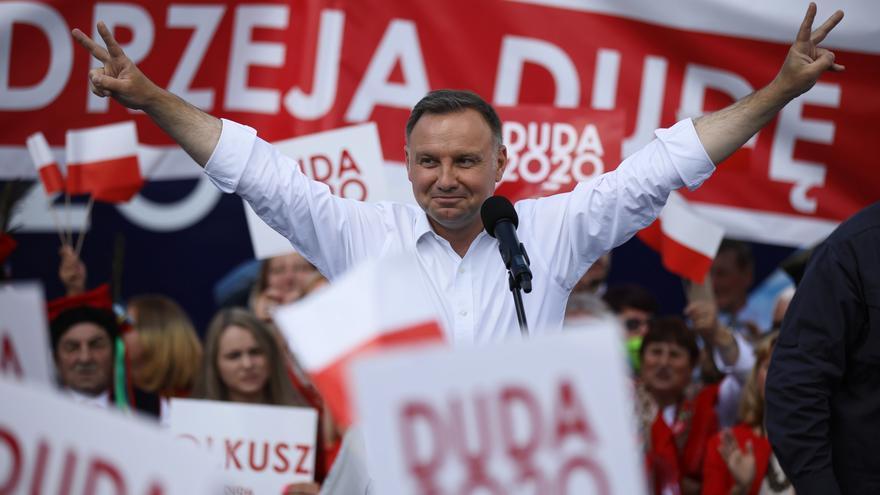 El presidente polaco y candidato a la reelección, Andrzej Duda, en un acto de campaña.