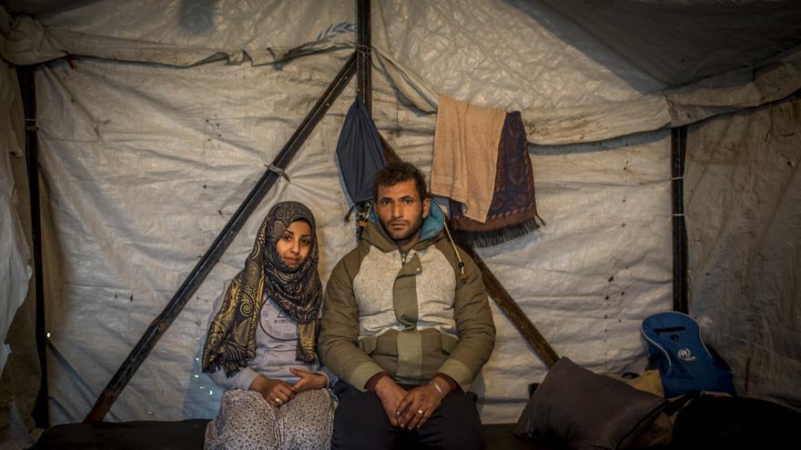 Los refugiados sirios Alaa y Bushra Aldin en Lesbos.