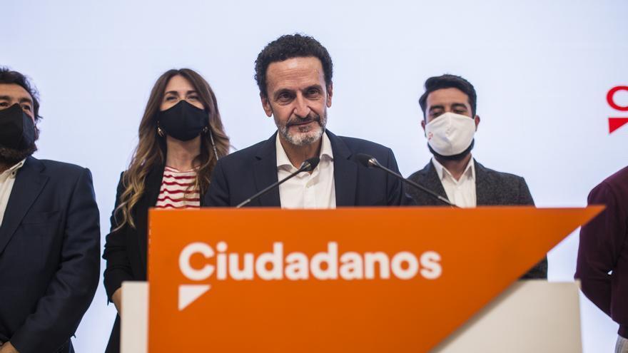El candidato de Ciudadanos a la Presidencia de la Comunidad de Madrid, Edmundo Bal, comparece en la sede del partido tras conocerse los resultados electorales.