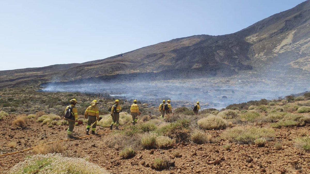 Efectivos trabajan en un incendio forestal declarado en el Parque Nacional del Teide