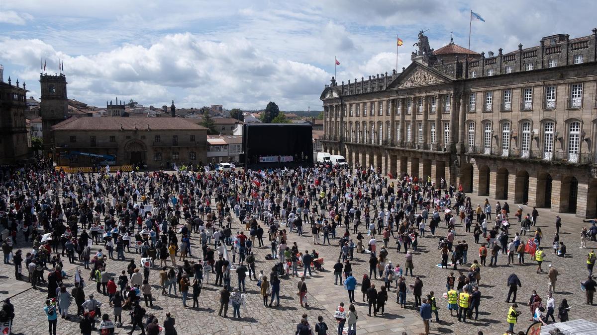 Manifestación de la plataforma 'Queremos Galego' en Santiago