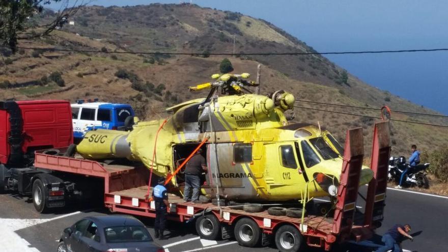 Helicóptero de la BRIF accidentado en La Palma