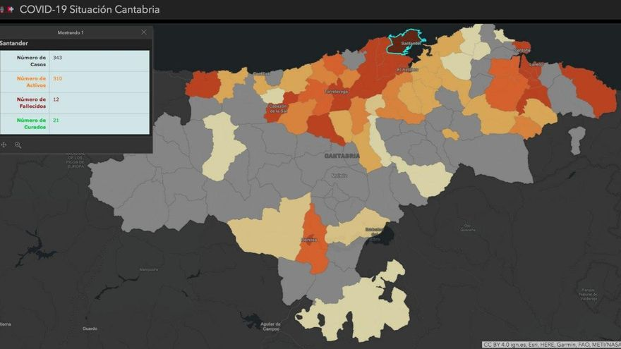 Mapa de la situación del coronavirus en los municipios de Cantabria. | GOBIERNO DE CANTABRIA