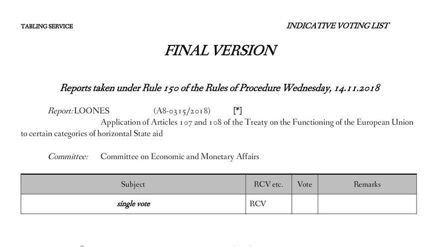Corrección del informe europeo sobre venta de armas.