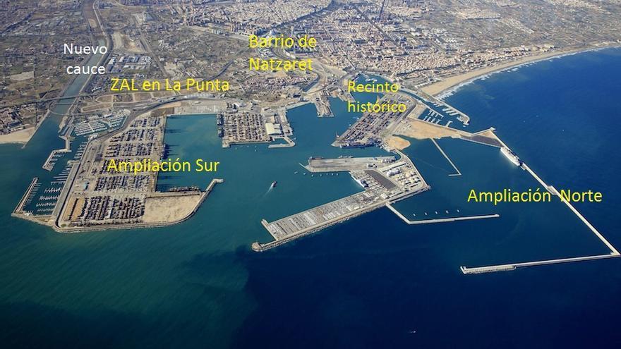 Vista aérea del puerto de València (2015)
