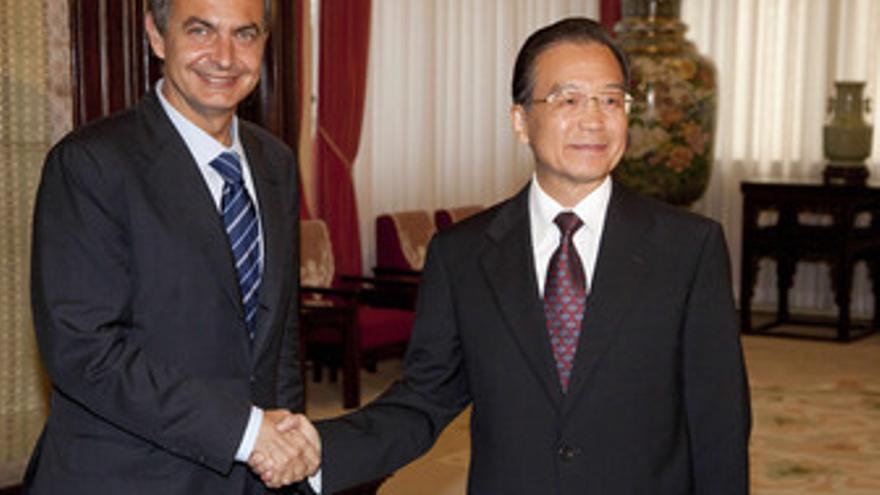Zapatero con el primer ministro chino, Wen Jiabao