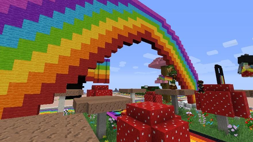 El Día del Orgullo también se celebró en Minecraft para condenar las declaraciones homófobas de Markus Persson, creador del juego (Imagen: cedida por Alexander Rodríguez)