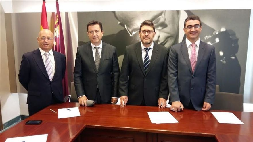 Los cuatro diputados regionales de Ciudadanos: Luis Fernández, Juan José Molina, Miguel Sánchez y Miguel Ángel López