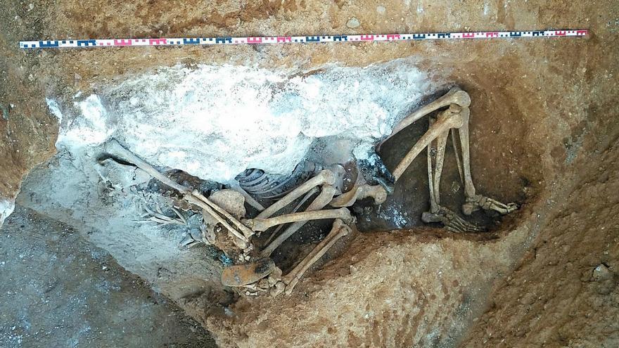 Restos óseos localizados en Sarrià