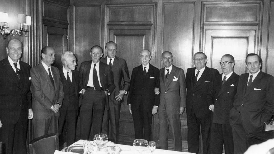 Presidentes de los siete grandes bancos españoles en la Transición