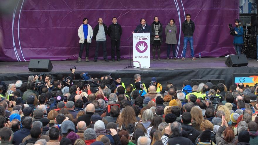 Pablo Iglesias y Colau protagonizan este domingo el acto central de campaña de Podemos en la Caja Mágica de Madrid
