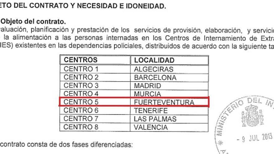 Captura del pliego de prescripciones administrativas de licitación del servicio de alimentación en los CIE para el periodo 2013-2016, en el que aparece incluido el CIE del Matorral
