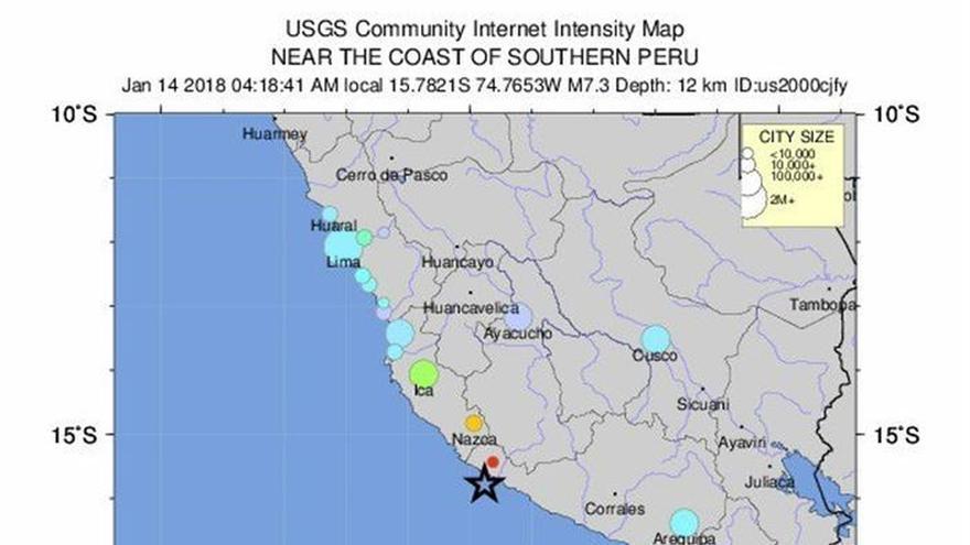 Al menos 2 muertos y 65 heridos por terremoto de magnitud 6,8 en el sur de Perú