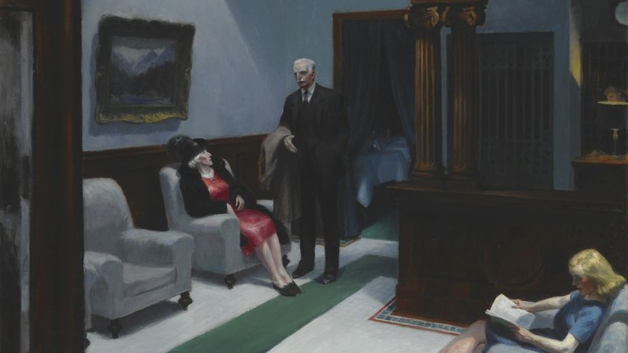 Edward Hopper, Hotel Lobby, 1943, Indianapolis Museum of Art.