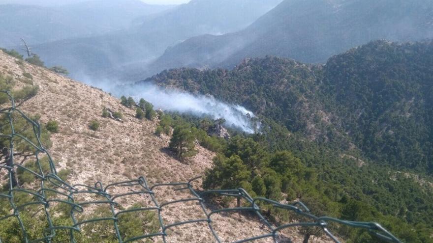 Vista del incendio en Yeste (Albacete)