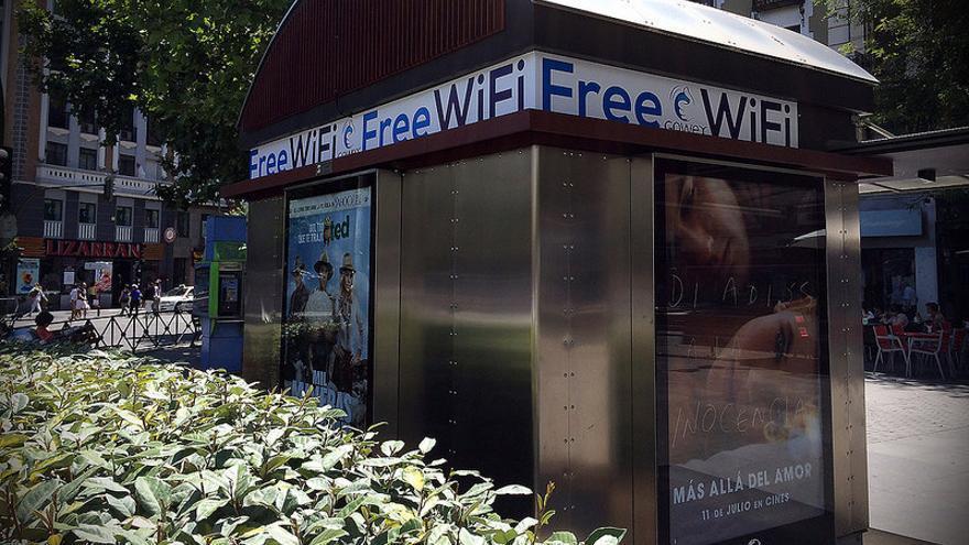 Un quiosco de prensa de Madrid, supuestamente, equipado con Wifi gratis de Gowex