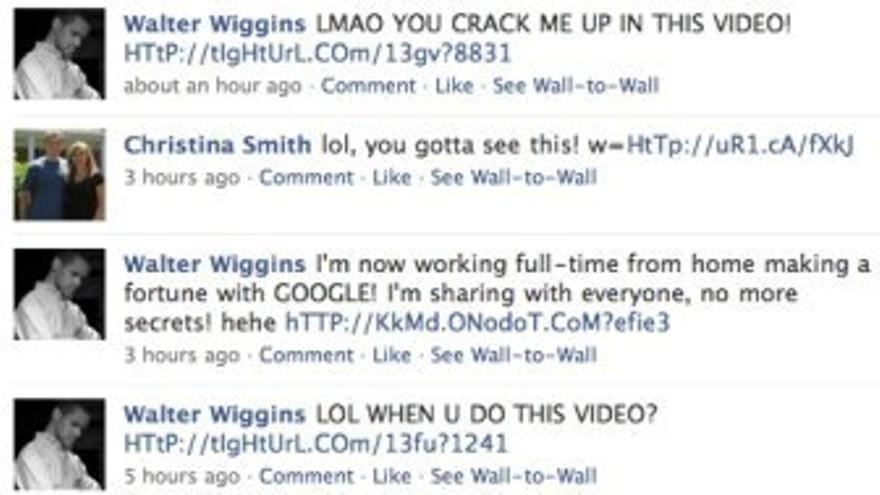 Mensajes de Facebook con spam.