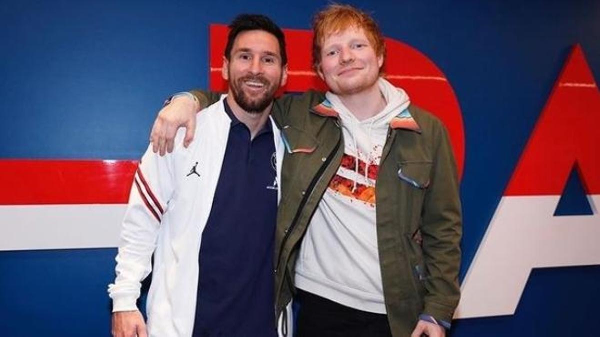 Messi y Ed Sheeran, juntos en París.