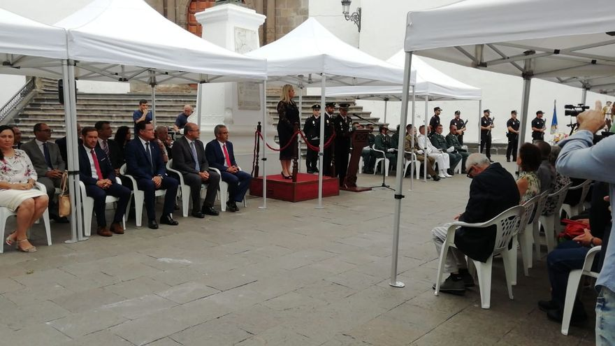 Un momento de la celebración en la Plaza de España.
