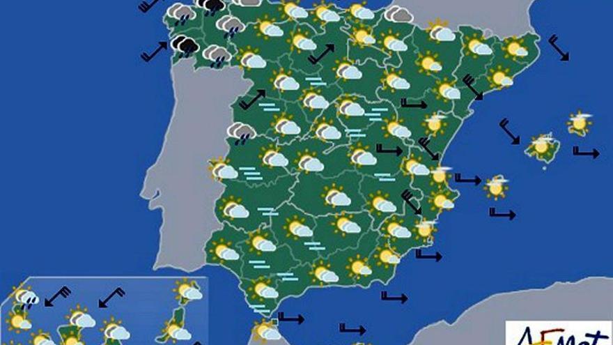 Hoy, lluvias en Galicia y nubes en el resto, con descenso de temperaturas