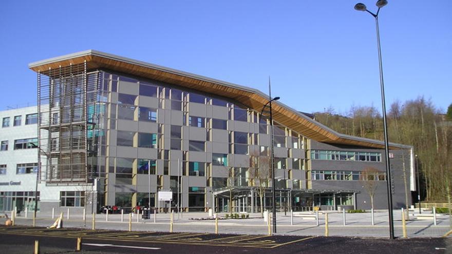 Uno de los edificios de Ebbw Vale construidos con fondos de la UE.