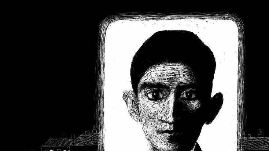 Ilustración de Kafka realizada por Renáta Fučíková para la biografía 'Franz Kafka: el hombre que trascendió su tiempo'