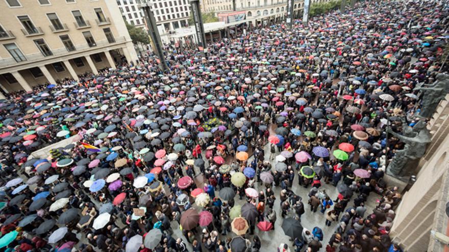 Imagen de archivo de una de las concentraciones de pensionistas en la plaza del Pilar