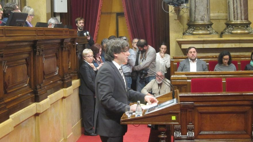 Carles Puigdemont durante su sesión de investidura, en 2016