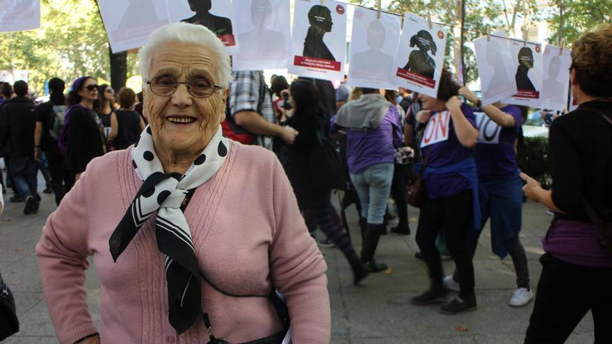 Cesárea, a sus 93 años, en la primera marcha nacional contra la violencia machista