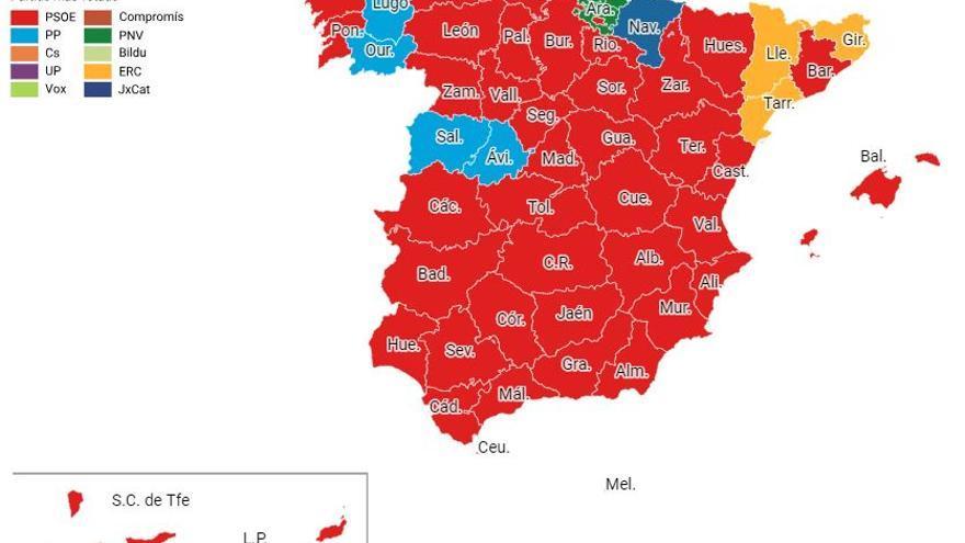 Mapa de España tras las elecciones generales.