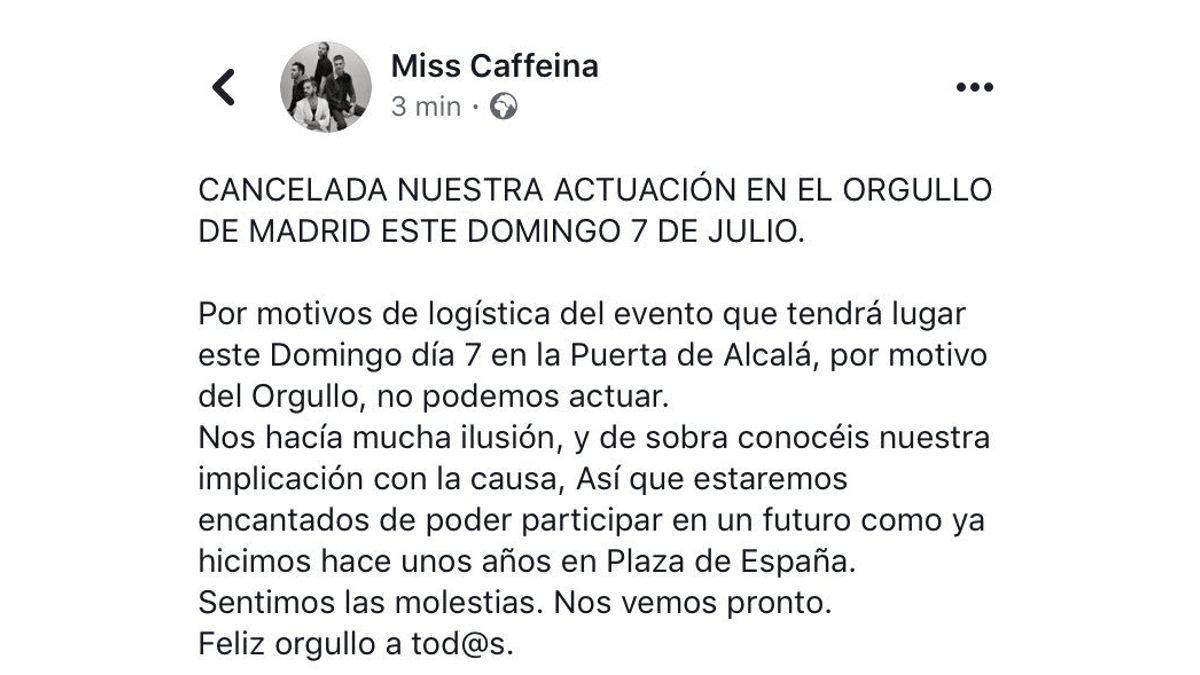 Anuncio de la cancelación del concierto de Miss Caffeina en el Orgullo 2019   FACEBOOK