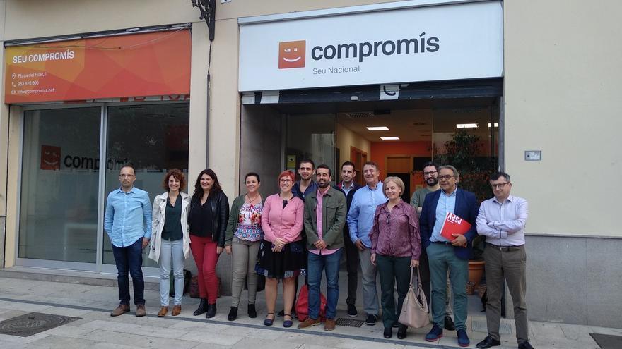 Representantes de PSPV, Compromís y Podem antes de la reunión de seguimiento del Botànic