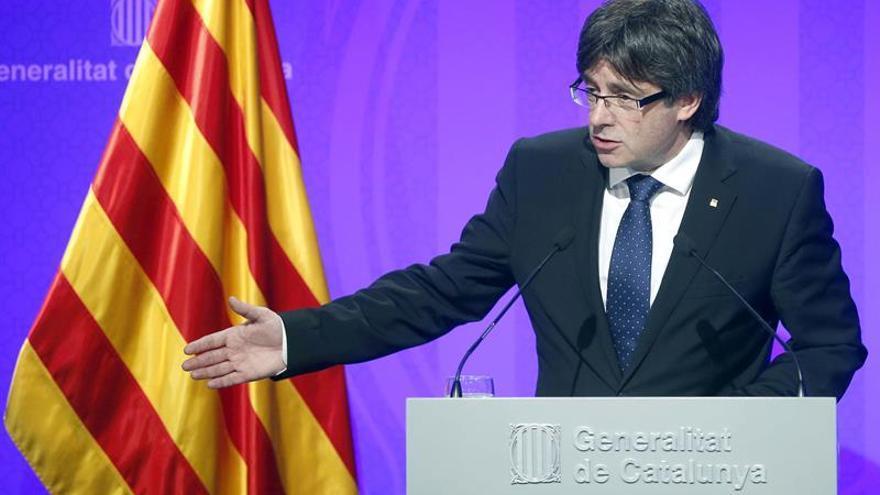 El president Carles Puigdemont durante una rueda de prensa