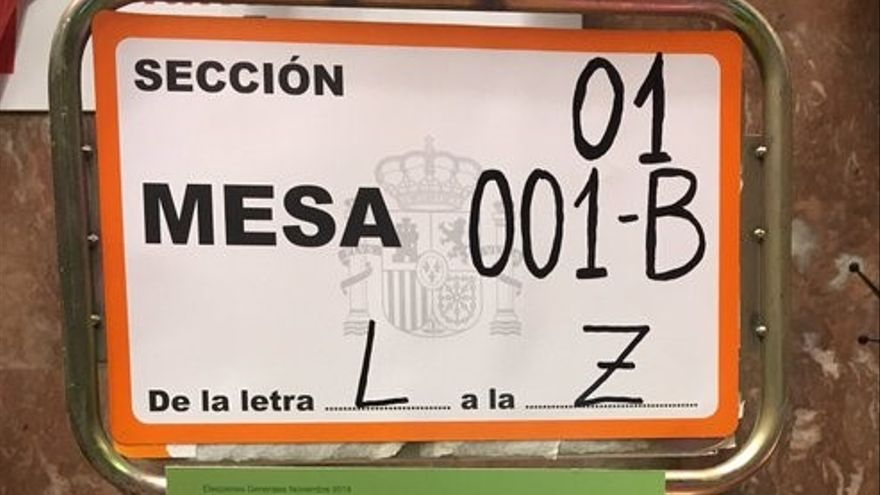 Cartel de mesa electoral en Zaragoza.