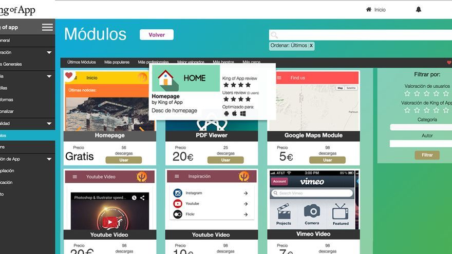 Módulos gratuitos disponibles en King of App
