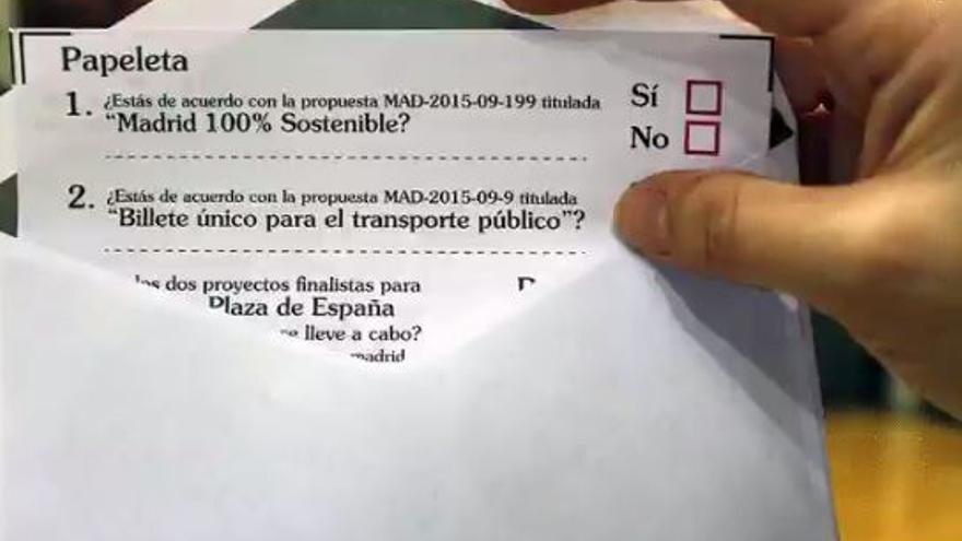 Papeleta de consulta ciudadana del Ayuntamiento de Madrid