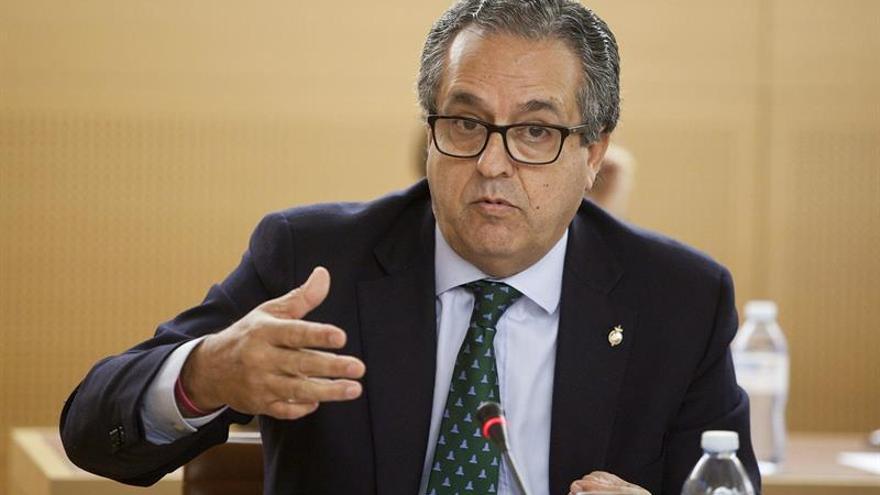 El portavoz del grupo popular en el Cabildo de Tenerife, Antonio Alarcó durante la última sesión plenaria./ Ramón de la Rocha (EFE)
