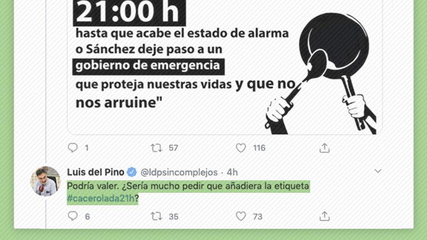 Tuit de Luis del Pino en la que solicita la inclusión del hashtag con objetivo de que la protesta se viralice.