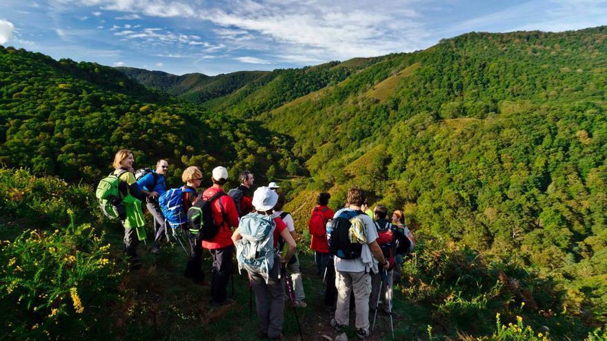 Senderistas durante una de las rutas de Naturea.   RED CÁNTABRA DE DESARROLLO RURAL