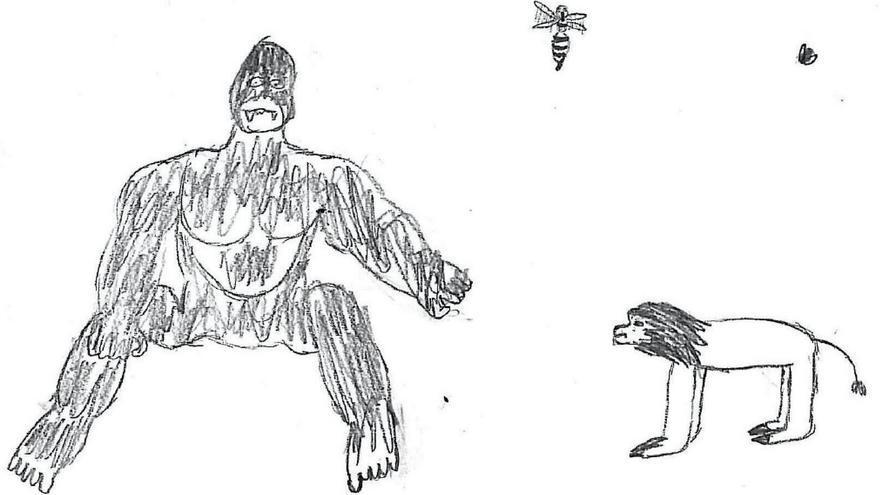 Dibujo realizado por un niño de 11 años. Tema: la familia.