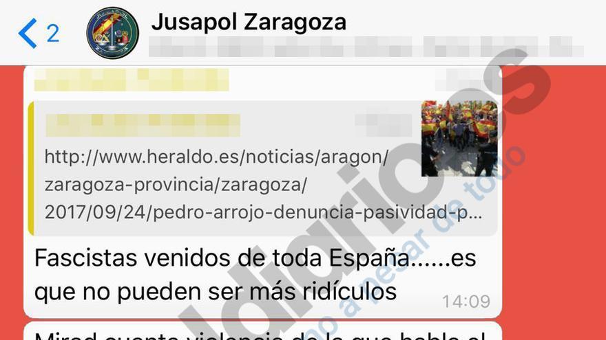 Pantallazo del grupo Jusapol Zaragoza en el que se insulta a Alberto Garzón