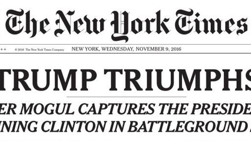 The New York Times abre portada con la victoria de Donald Trump.