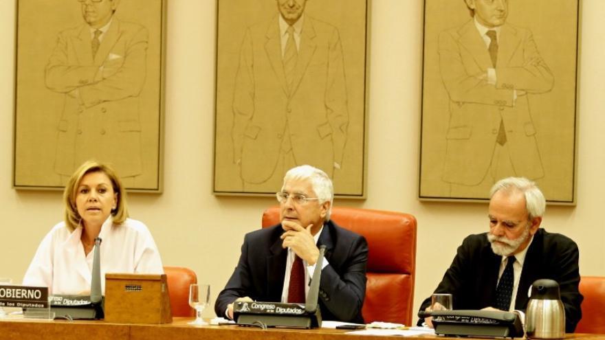 La ministra Cospedal en la comparecencia en el Congreso por la conmemoración en el ejército del 18 de julio.